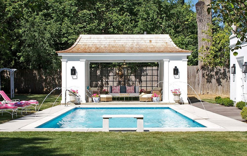 pool house ideas view in gallery matching decor and common hues inside and outside the AZENTHT