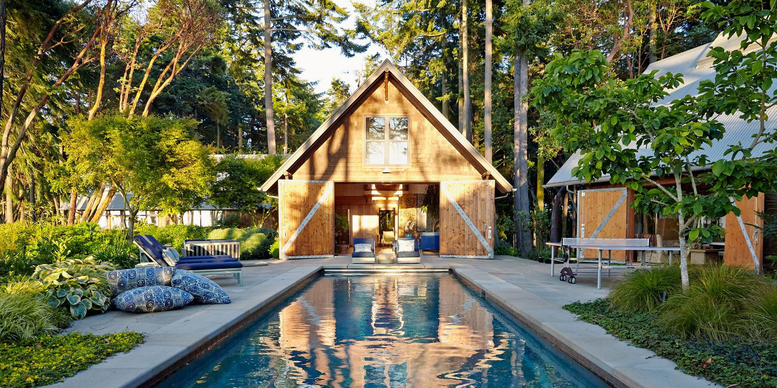 pool house ideas watson and reid embellished the rear facade of the british colonial-style BHEOZQC