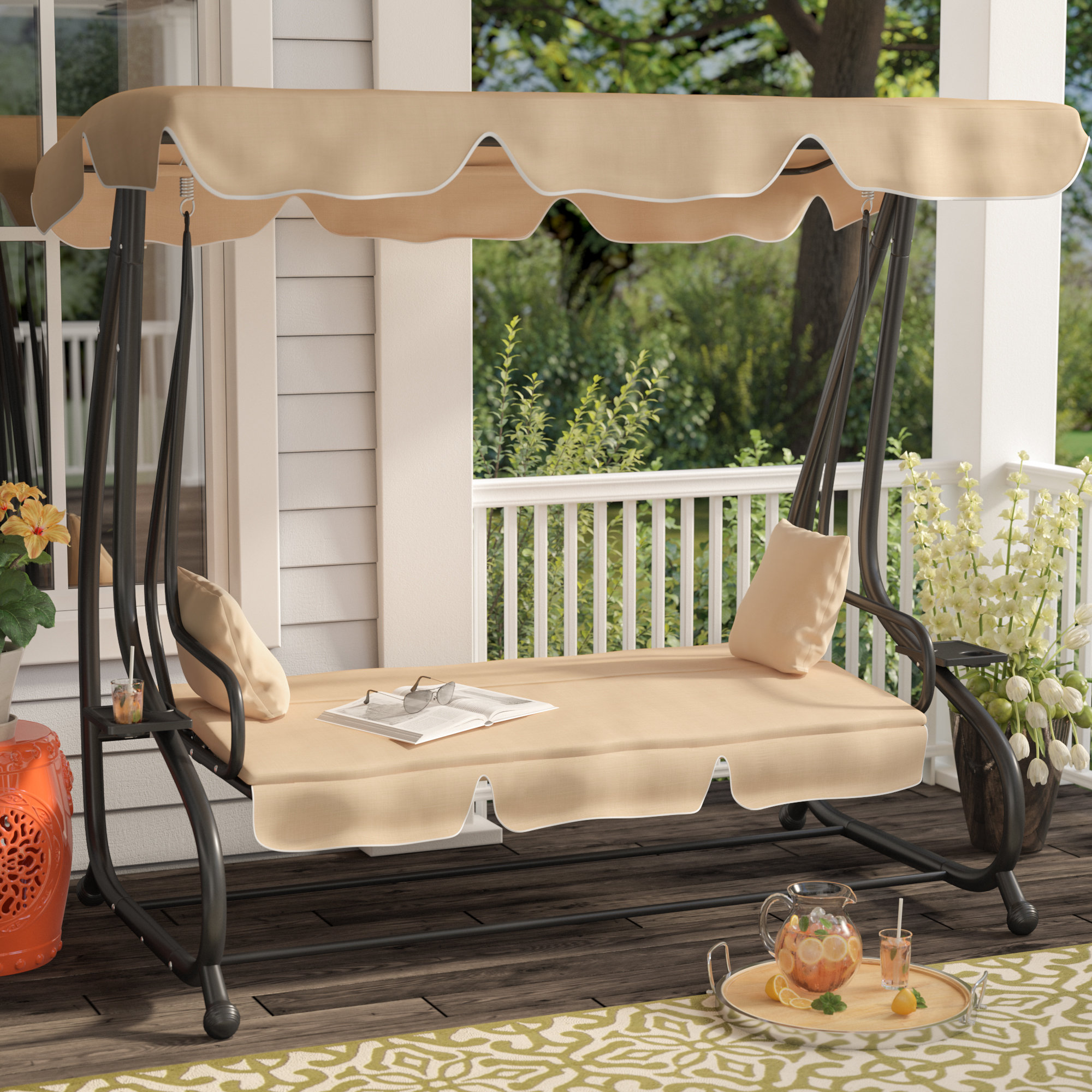 Porch Swings Winston Porter Whitney Outdoor Covered Swing With Stand U0026 Reviews Gscilha