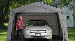 portable carport image is loading shelterlogic-12x16x8-auto-shelter-portable-garage-steel- carport- TCXRSZN