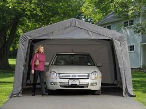 portable carport image is loading shelterlogic-12x16x8-auto-shelter-portable-garage-steel- carport- TCXRSZN