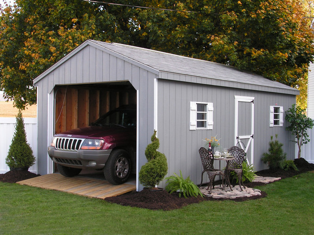 prefab one car garage sheds traditional-shed NKCABHD