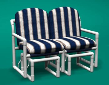 pvc patio furniture classic loveseat double glider LJOBFPZ