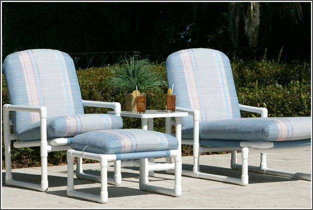 pvc patio furniture pipe collection - chaise lounge, recliner, ottoman BKCHMBT