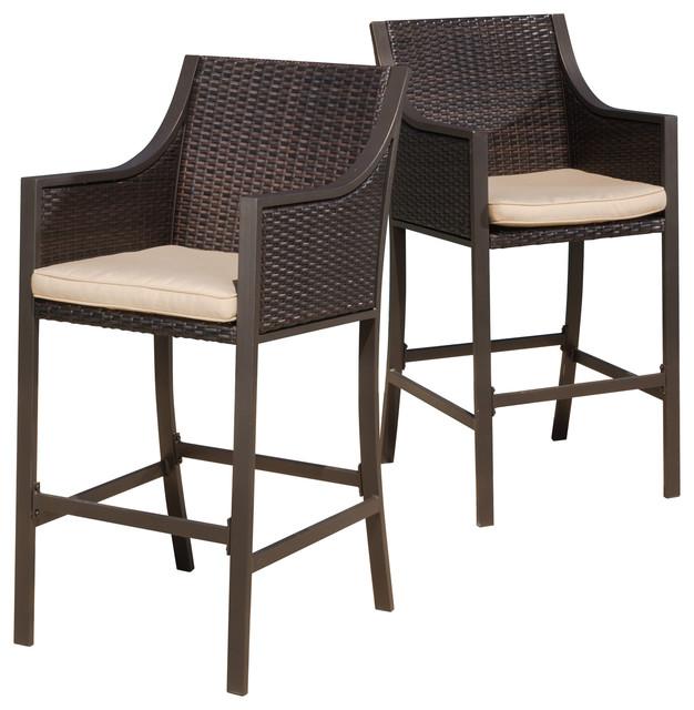 rani brown outdoor bar stools, set of 2