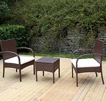 rattan garden chairs heredeco patio rattan outdoor garden furniture set of 3pcs, wicker chairs KFWHPIE