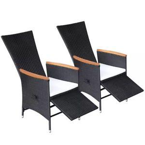 rattan garden chairs image is loading vidaxl-2x-reclining-dining-chairs-black-wicker-poly- CISRHGO