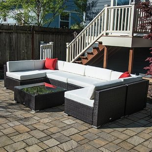 rattan patio furniture 7 piece rattan sectional seating group with cushions BFDIJMK