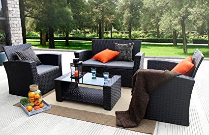 rattan patio furniture baner garden (n87) 4 pieces outdoor furniture complete patio cushion wicker LQRLDUA