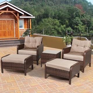 rattan patio furniture costway 5 pcs rattan wicker furniture set sofa ottoman w/brown cushion patio GVXRJHW