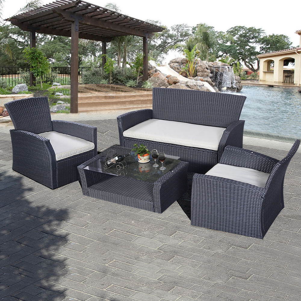 rattan patio furniture goplus 4pcs outdoor patio furniture set wicker garden lawn sofa rattan ZRQCLXQ