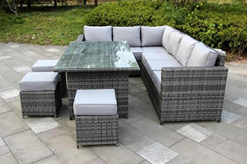 rattan patio furniture yakoe conservatory 9 seater outdoor rattan garden furniture classical  corner dining HJDDACU