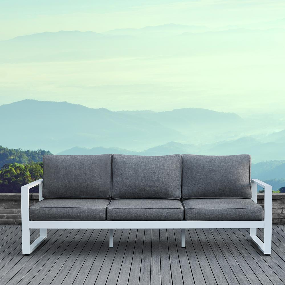 real flame baltic white aluminum outdoor sofa with gray cushions LRVJAOG