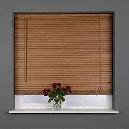 real wood venetian blinds light wood oak long 210cm drop 25mm slats ETBKWUN