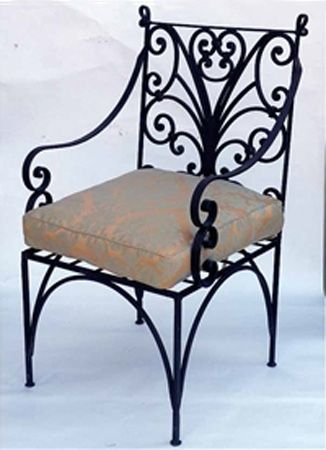 retro style wrought iron furniture, vintage chair with a cushion HSLYTMX