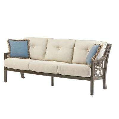 richmond hill heather slate aluminum outdoor sofa with hybrid smoke cushions THZCYHG