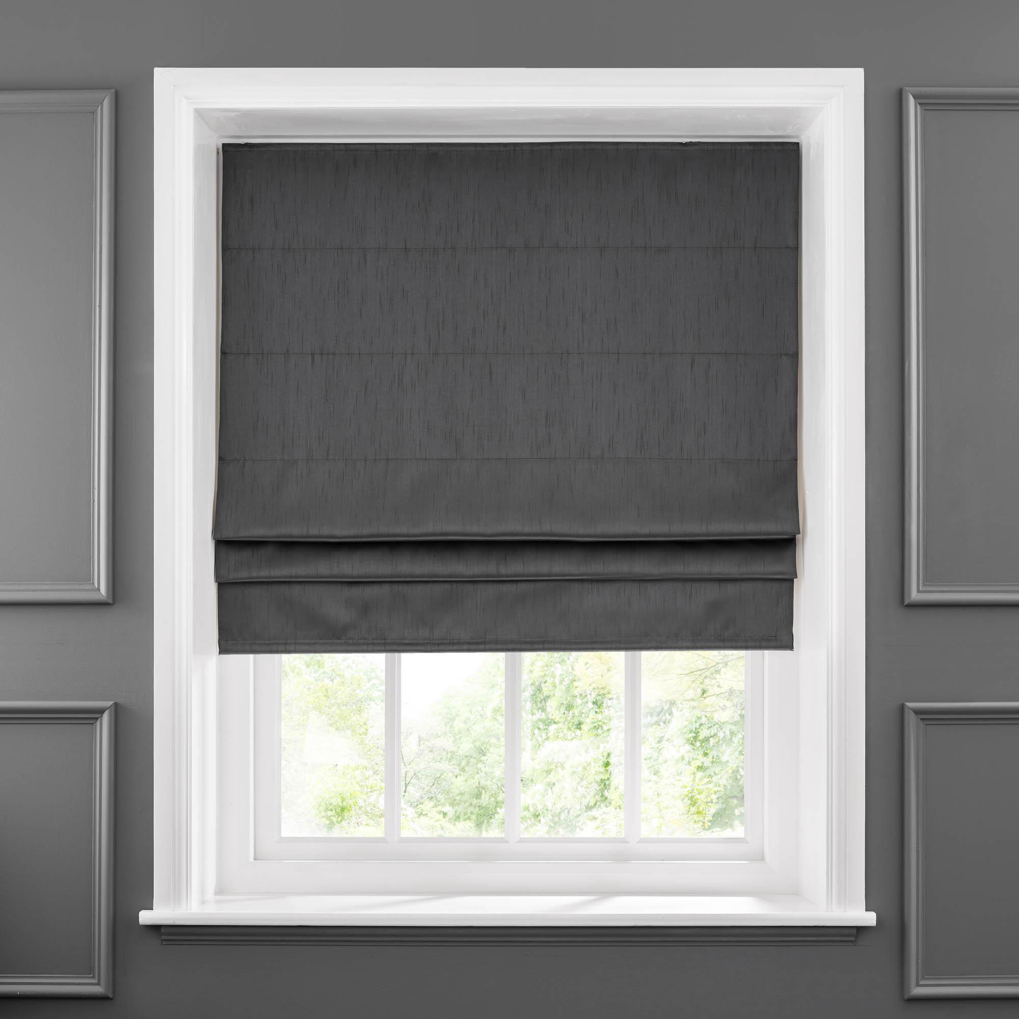 roman blinds faux silk charcoal thermal blackout roman blind NNYKKMQ