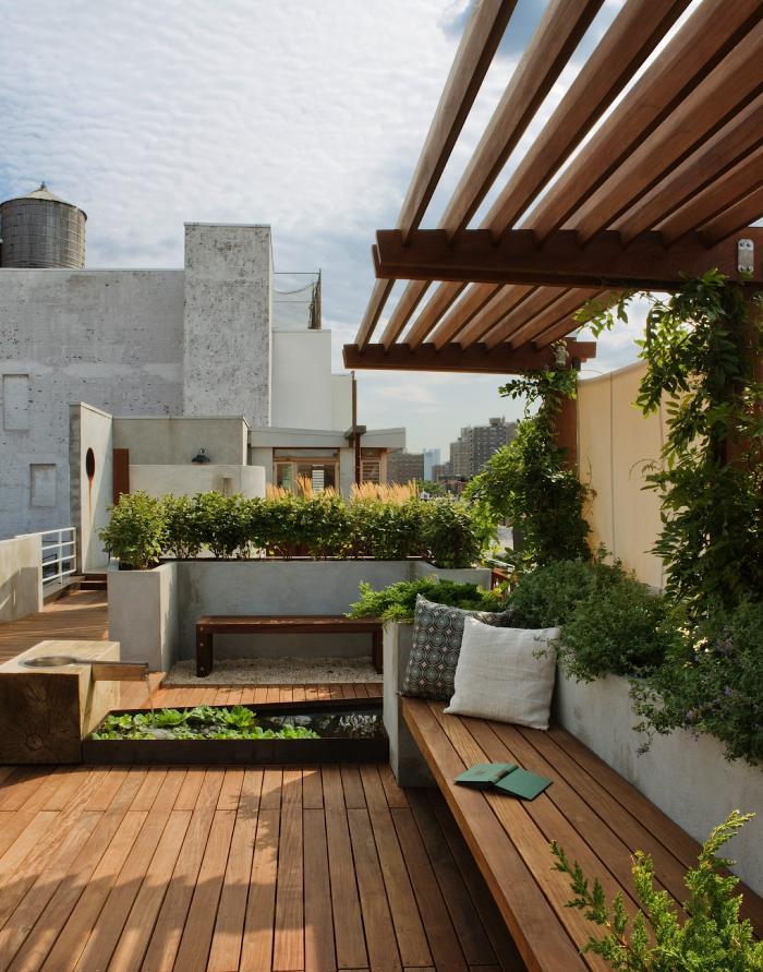 roof garden design roof-garden-pergola-built-in-furniture-pulltab-manhattan- BBICNQT