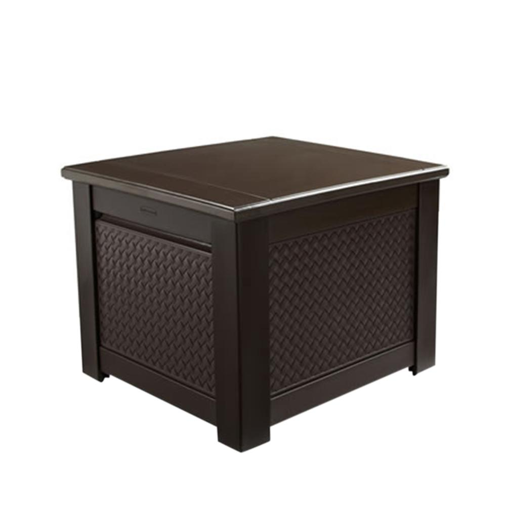 rubbermaid patio chic 56 gal. resin basket weave patio storage cube deck RRTALOY