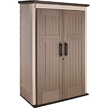 rubbermaid plastic large vertical outdoor storage shed, 52-cu. ft., beige MKMBXPY