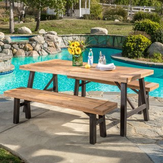 rustic outdoor furniture boracay outdoor 3-piece picnic dining set by christopher knight home LUPDLED