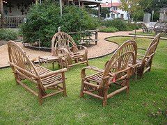 rustic outdoor furniture, two chairs and loveseat country style wooden  chairs JLAJTUB
