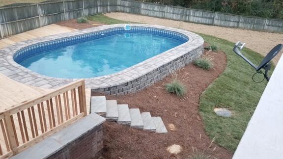semi-inground pools combine benefits of both above ground and inground  swimming LMQJTKD