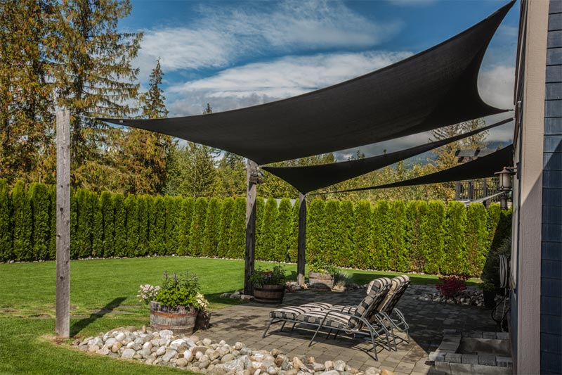 shade sails can be used in combination to create intricate shade solutions PDROZKN