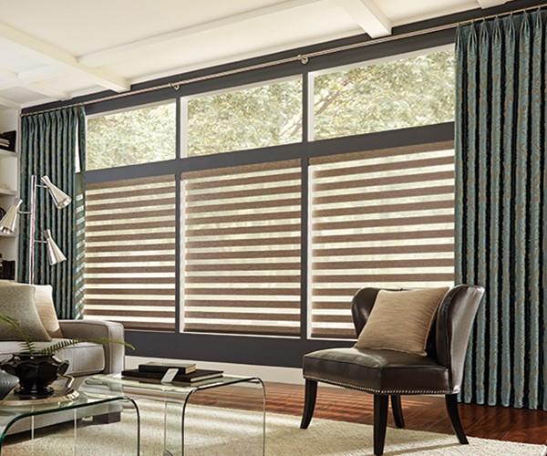 sheer blinds graber motorized mezzanine layered zebra sheer shades KFCEZGT