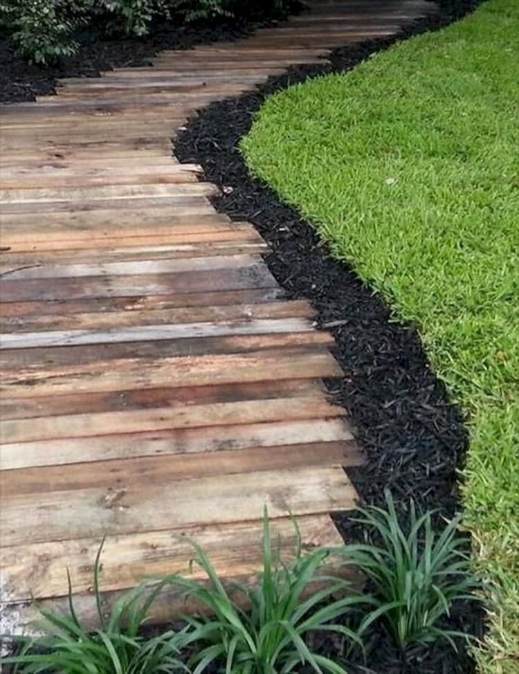 simple and affordable wooden garden path ideas UEQCIVP