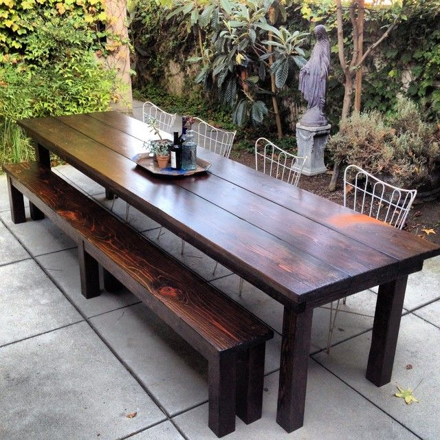 simple outdoor dining area with rustic outdoor furniture of wooden table IJSHORX