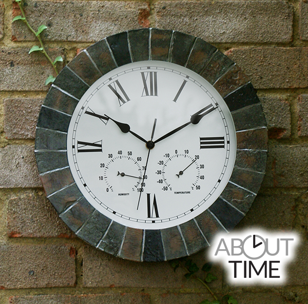 slate effect outdoor garden clock with thermometer -