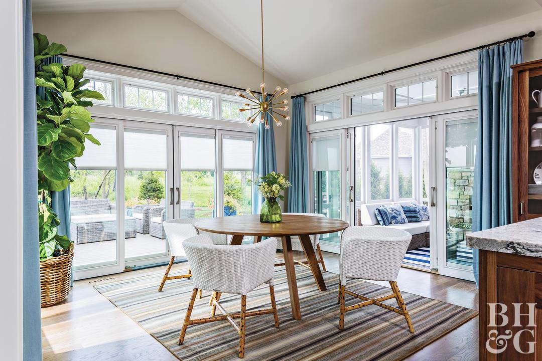 sliding door window treatments kitchen with large potted plant sputnik light fixture blue curtains ONEPLES