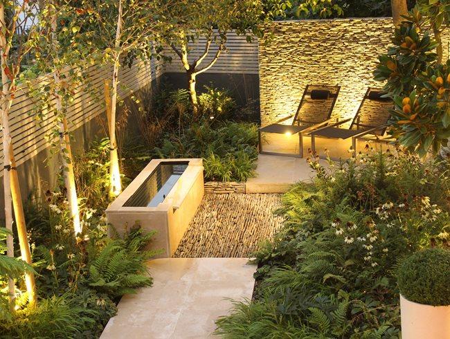 small garden design dry stone wall, water tough,