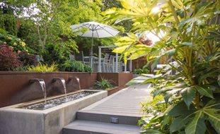 small garden design outdoor dining terrace, canopy of