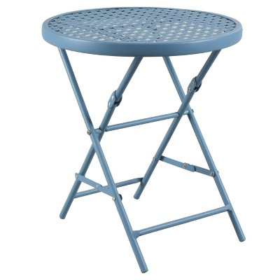 small patio table metal punch folding patio accent table - blue - threshold™ OGMITMR
