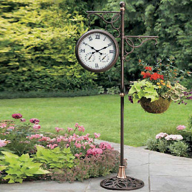 solar-lighted garden clock. AATQICX