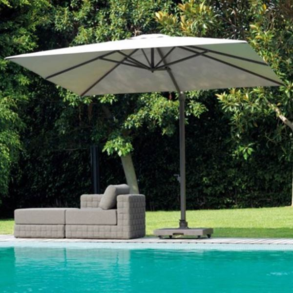 square garden umbrella marte with retractable opening system