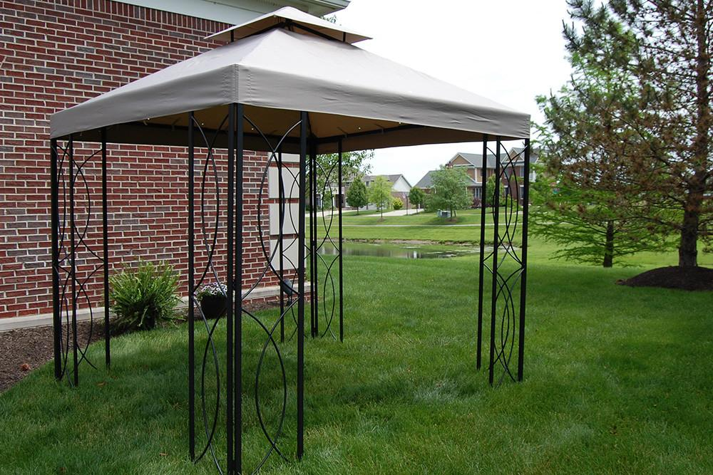 steel gazebo 8x8 ft loweu0027s steel frame gazebo with high-grade canopy 300d polyester - DJBKURB