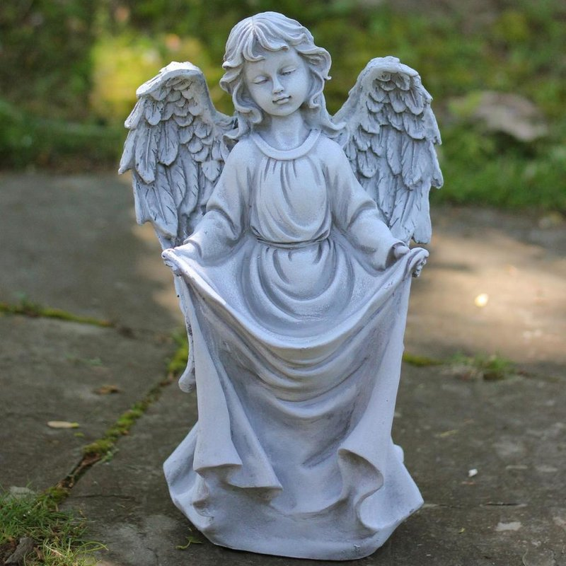 stone angel bird feeder garden statue APGMJVW