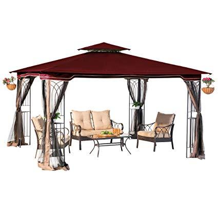 sunjoy 10 x 12 regency ii patio gazebo with mosquito netting, maroon LHARQZV