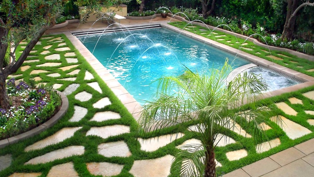 swimming pool landscaping ideas, ideas for beautiful swimming pools IKUJCKD