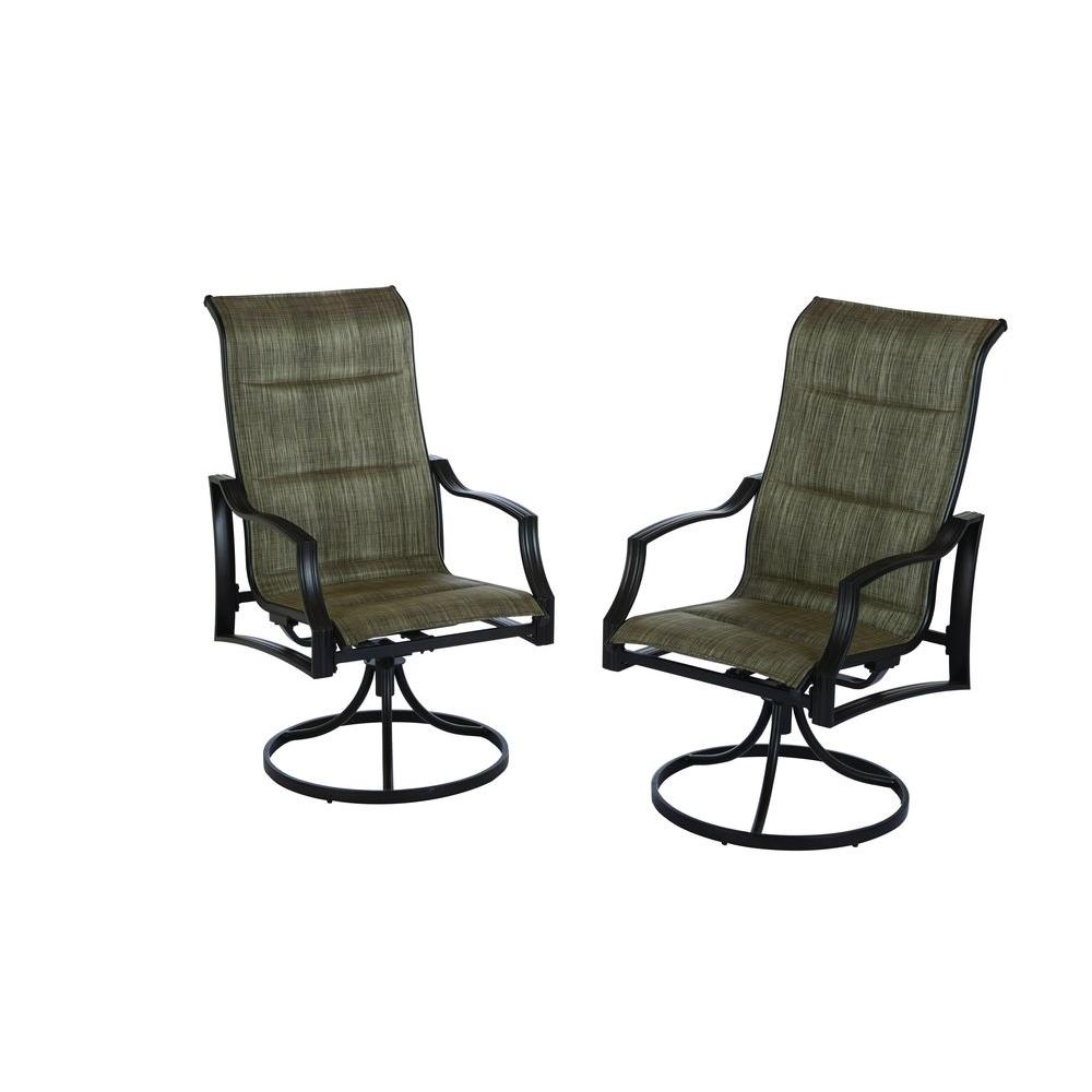 swivel patio chairs hampton bay statesville padded sling swivel patio dining chair (2-pack) ZVDASEF