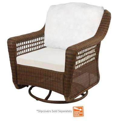swivel patio chairs spring haven brown wicker outdoor patio swivel rocker chair with cushions SZJPHQK