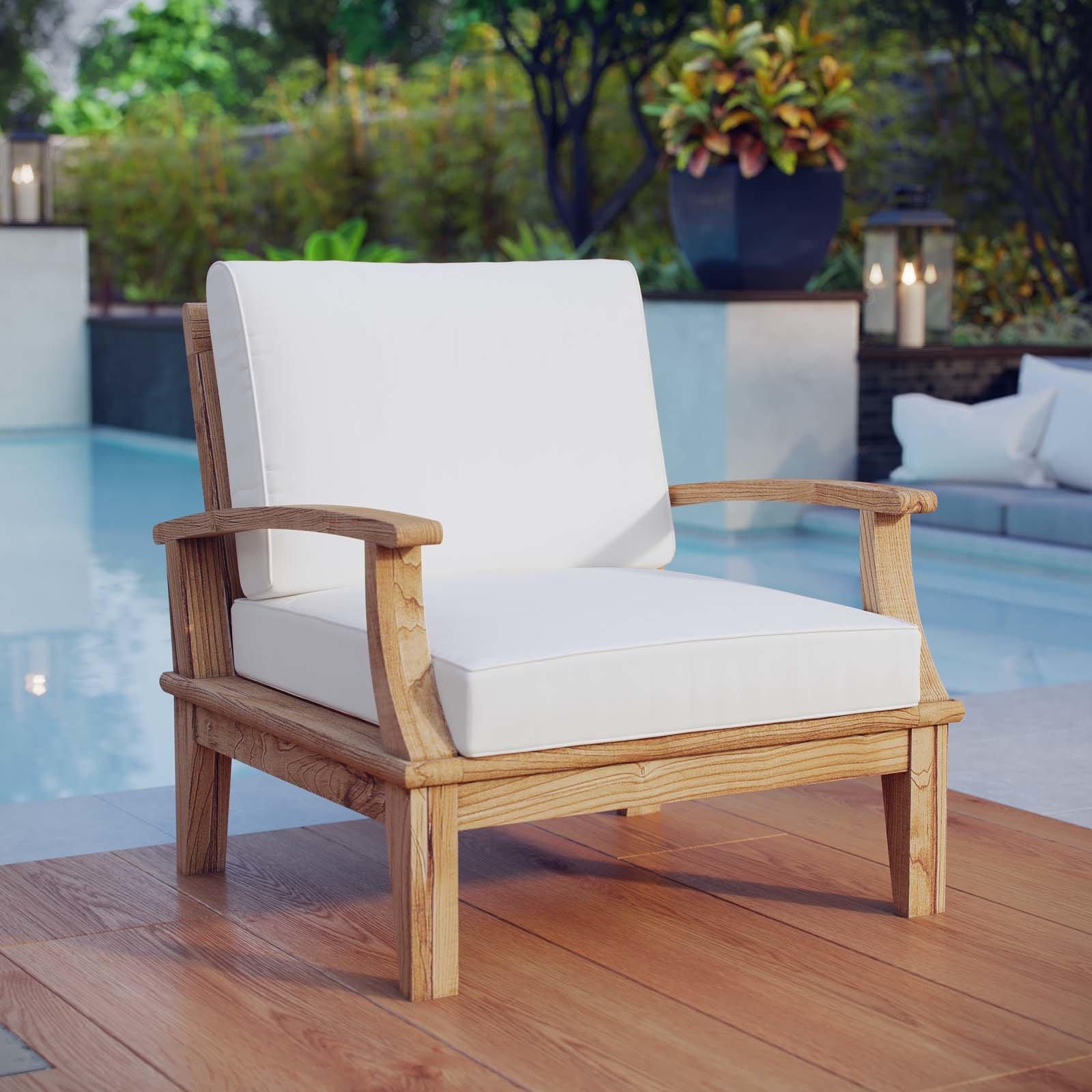 teak patio furniture beachcrest home elaina teak patio chair with cushion u0026 reviews | wayfair BCMCKDV