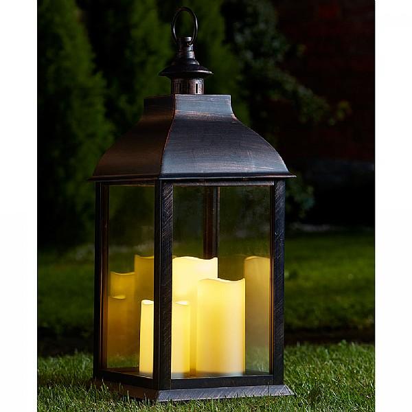 triple pillar lantern (battery operated) | garden lanterns | webbs garden XBSYKKZ