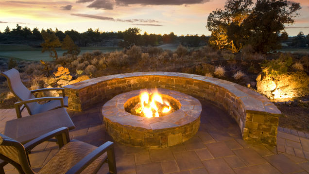 view larger image gorgeous backyard fireplace with golf course backdrop WTHFNMR