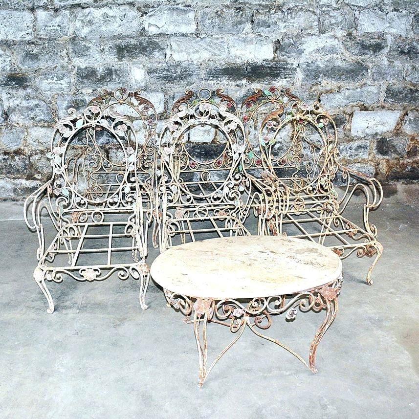 vintage patio furniture vintage outdoor wrought iron patio furniture set chairs refinishing metal  refinish UPHDEJU