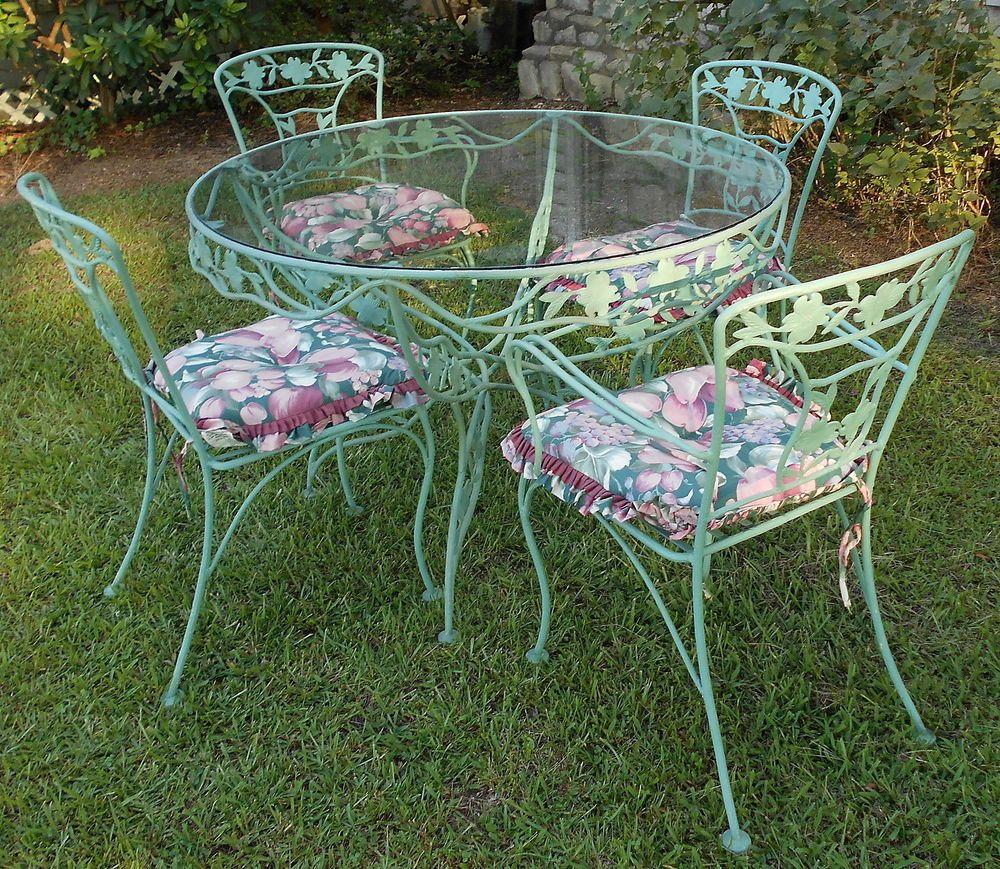 vintage patio furniture vintage wrought iron patio set dogwood blossoms u0026 branches sage green 8 QLYBCOY