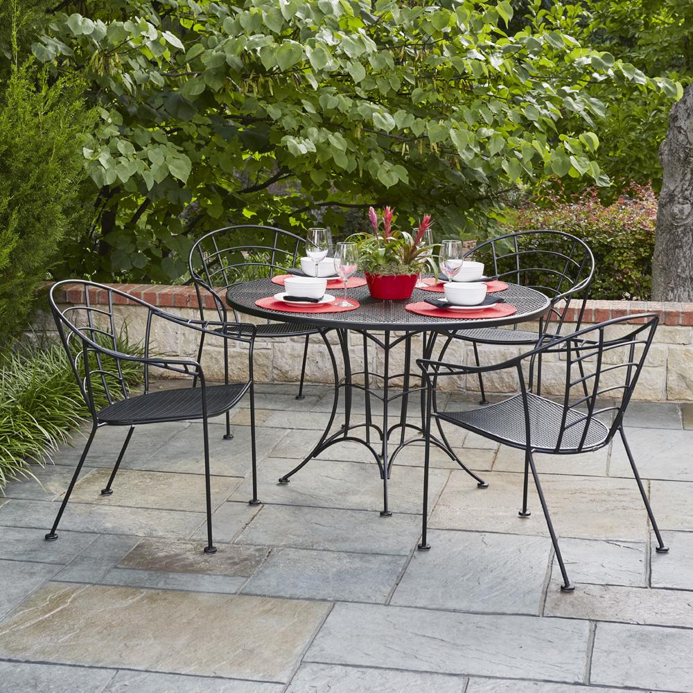 vintage patio furniture woodard hamilton wrought iron vintage patio dining set - wd-hamilton-set3 KBBDNWA